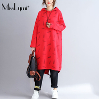 MissLymi Artı Boyutu Kadın Hoodie Kazak Elbise Kırmızı 2017 Kış Polar Gevşek Uzun Kollu Tüy Baskı Asimetrik Uzun Elbise
