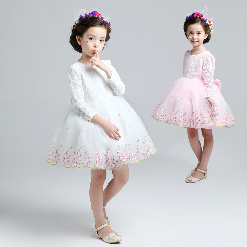 ball gown princess dress O-neck knee-length flower girl dresses large bow baby girls wedding party dress for costume birthday new arrival 2016 girls big flower dress flower girl party dresses pearl o neck sleeveless princess birthday costume champagne