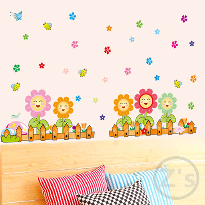 Zs Sticker Flowers Wall Stickers Children Girls Bedroom Home Decor for Kids Room Wall Decor