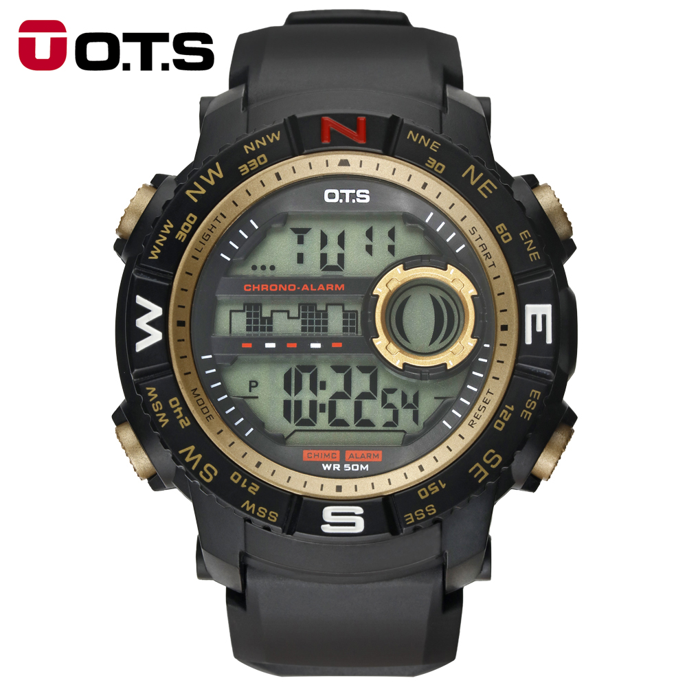 OTS Luxe Merk Mens Sport Horloges Duik 50m Digitale LED Militaire - Herenhorloges
