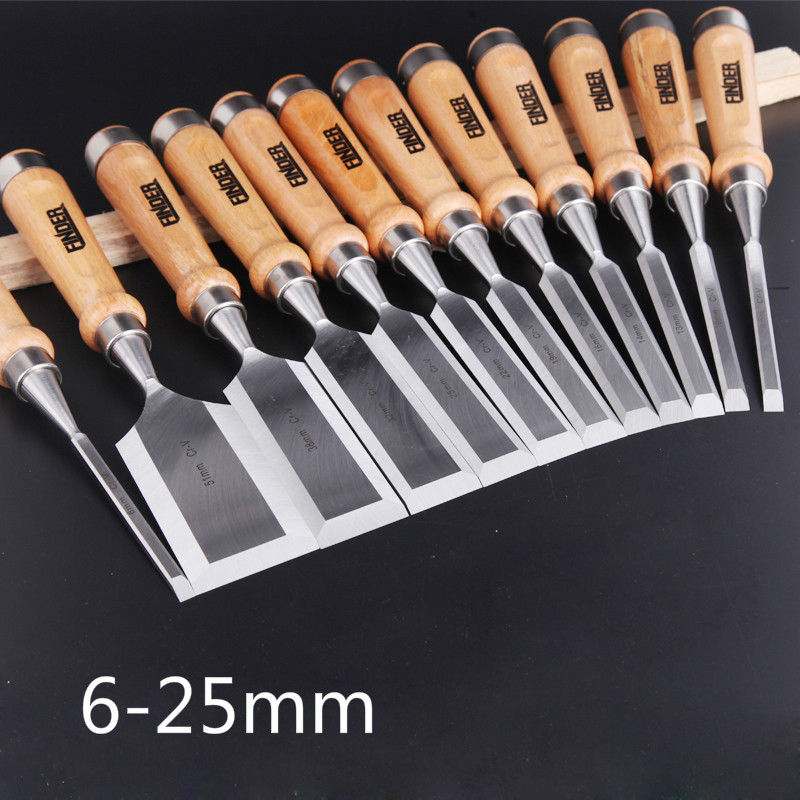 9 Pcs set 6 25mm Carving Chisel Carpenter Tools Flat Woodworking Chisel Tool Set Professional Wood