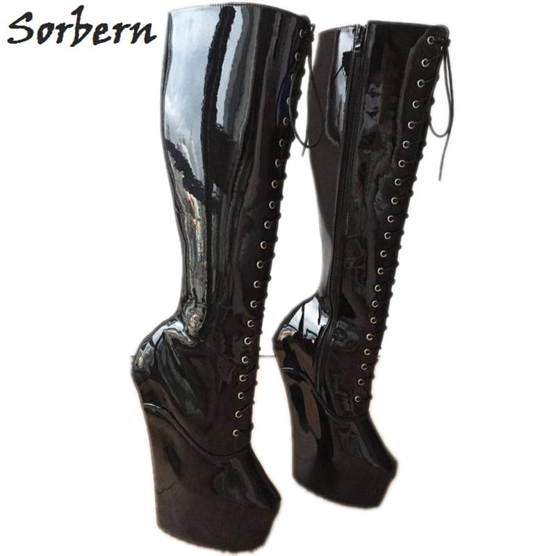 ab14b9bf33 Sorbern Heavy Hoof Sole Boots Women Custom Color Horse Hoof Heelless Knee  Hi Fetish Role Play Black Patent Boots Unisex Size 12
