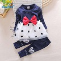 Child Girls Clothes 2017  New  Arrival  Sweet Children's Clothing Suits Bowknot Gauze Autumn Spring Kids Clothes 2pcs T2778