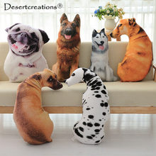 3D Big Dog Shape Decorative Cushion Throw Pillow With Inner Home Decor Cartoon Sofa Toys Sleeping Pillow Plush Gift For Children(China)