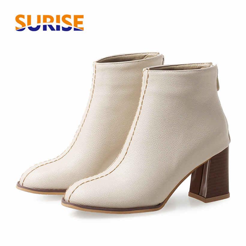 e106a614b25de Plus Size 46 Winter Women Ankle Boots 7cm High Square Block Heel White  Casual Office Party