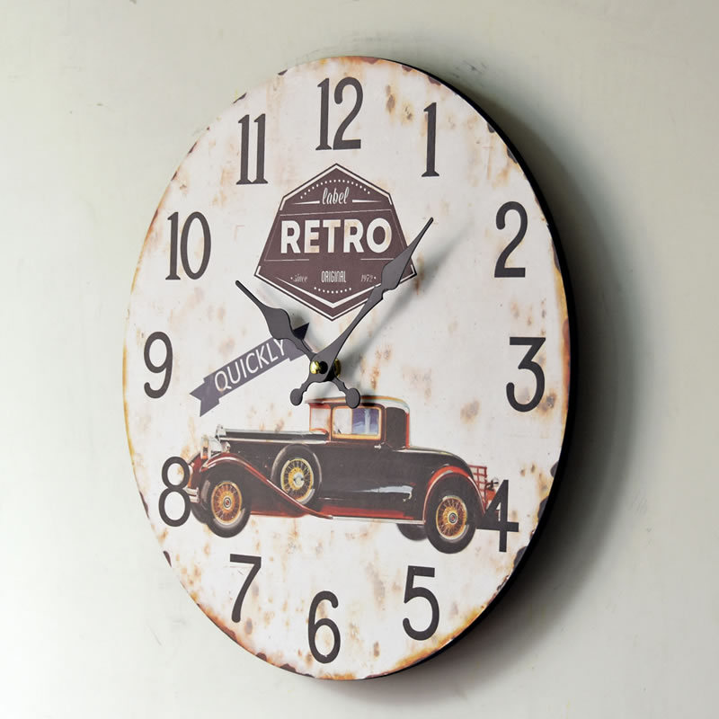 New Arrival Retro Car QUICKLY Mute Wood Wall Clocks Nostalgic Home Decor  Mural Large Wall Clock For Restaurant Bar In Wall Clocks From Home U0026 Garden  On ...