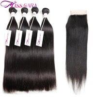 Перуанские прямые 3 или 4 Связки с закрытием 100% человеческих волос Miss Cara Связки с закрытием Бесплатная/средний часть волос ткет