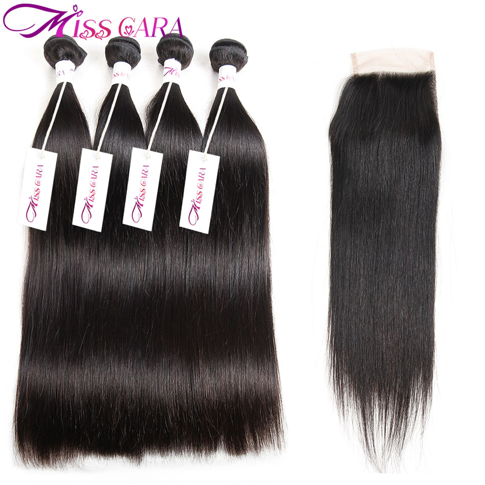 Peruvian Straight 3 Or 4 Bundles With Closure 100% Remy Human Hair Miss Cara Bundles With Closure Free/Middle Part Hair Weaves