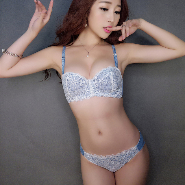 61fde089a4cdc 1 2 cup lace small young girls push up bra and panty set adjustable sexy  underwear thicken women intimates bra brief sets