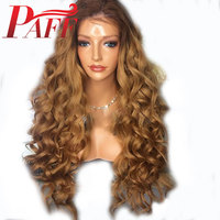 PAFF Ombre 360Lace Frontal Human Hair Wig with Baby Hair 27# Blonde Curly 22.5x4 Lace Front Wig for Women 180% Density Remy Hair
