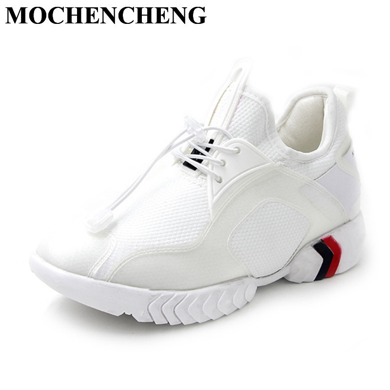 New Lace-up Casual Shoes Women Sneakers Summer Breathable Mesh Platform Flat Leisure Shoes High Quality White Shoes for Female mwy women breathable casual shoes new women s soft soles flat shoes fashion air mesh summer shoes female tenis feminino sneakers