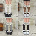 4 Pair Grey Black White Handmade Knee-high Sock Stocking for Blyth, Azone, JerryBerry, Momoko 1/6 Doll Clothes Accessories