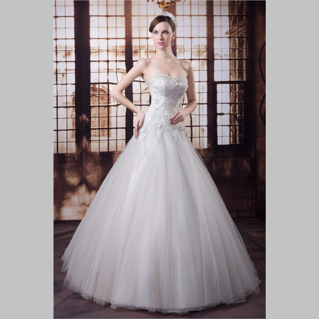 iLoveWedding Ball Gown Wedding Dresses Formal Strapless Tulle Satin ...