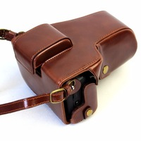 Deluxe Edition PU Leather Camera Bag Case Cover For Canon EOS M5 EOSM5 15 45mm 55 200mm Lens With Strap+Open Battery Design