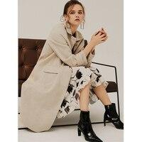 Инь Ka Si 2018 осень зима Новый Для женщин X длинные двухсторонняя чистого Шерстяное пальто шерстяное пальто Хаундстут высокого класса атмосфер