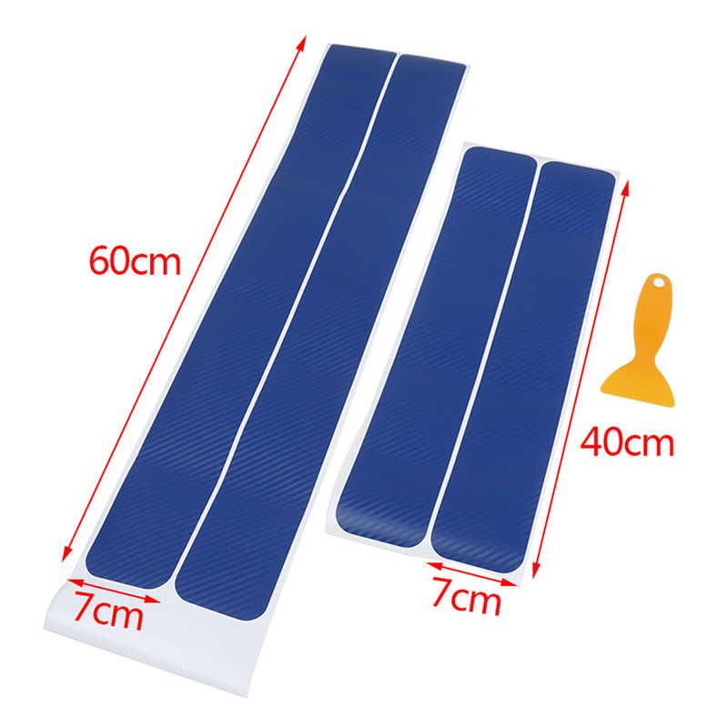 4 pçs/set Pedal Bem-vindo Proteger Adesivo De Fibra De Carbono Azul Acessórios Do Carro Soleira Da Porta de Chinelo