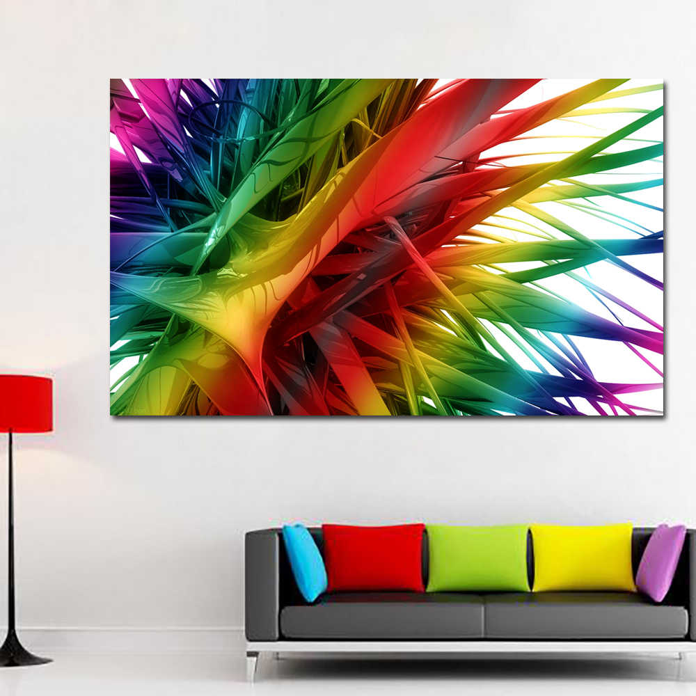 SELFLESSLY 3D Colorful Plants Canvas Prints Wall Art Painting For Living Room Modular Abstract Pictures Posters and Prints