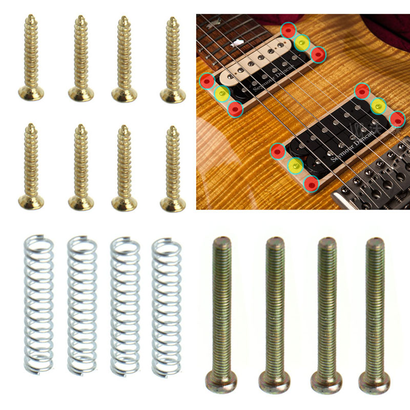 1Set Humbucker Pickup Screws Springs Kit Ring Surround Mounting Guitar Parts
