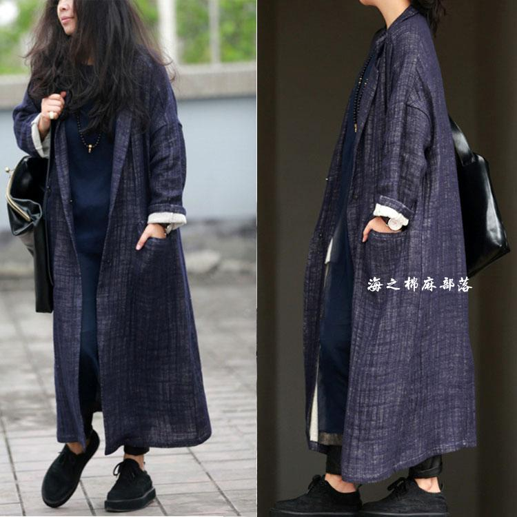 2016 women's spring and autumn Fluid double layer elegant trench long design vintage outerwear