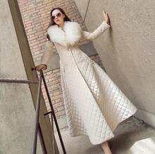 2018 winter new fashion brand with big fur collar warm down jacket female longer elegant Slim padded coat r425