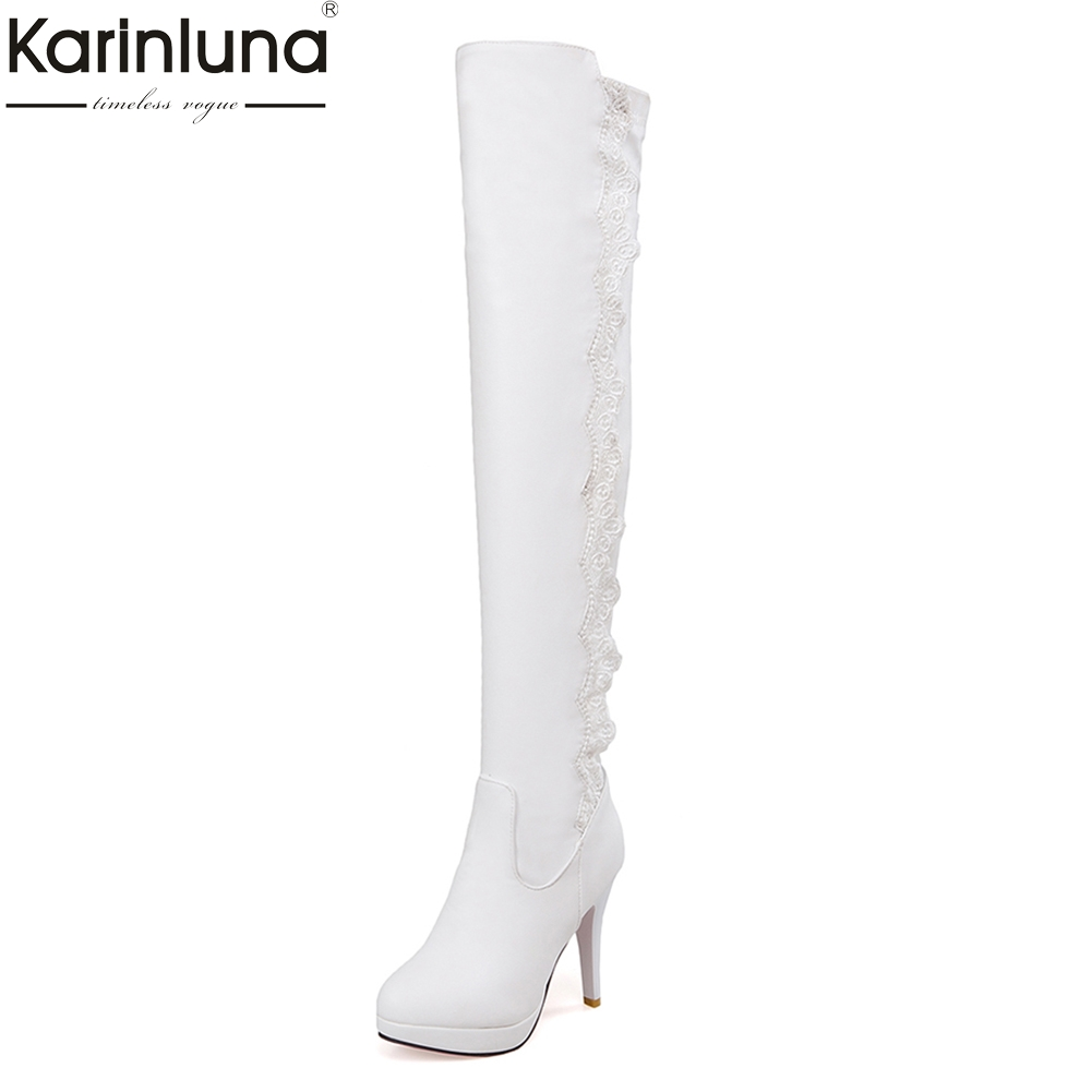 KARINLUNA 2018 large sizes 34-43 sexy lace over-the-knee Boots Women Shoes Woman high Heels Black Woman white Shoes party boot цена