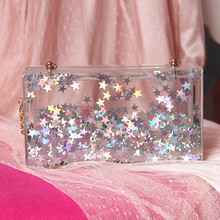Trend der sterne moving transparent acryl perle frauen mode persönlichkeit kette schultertasche clutch abendtasche handtasche