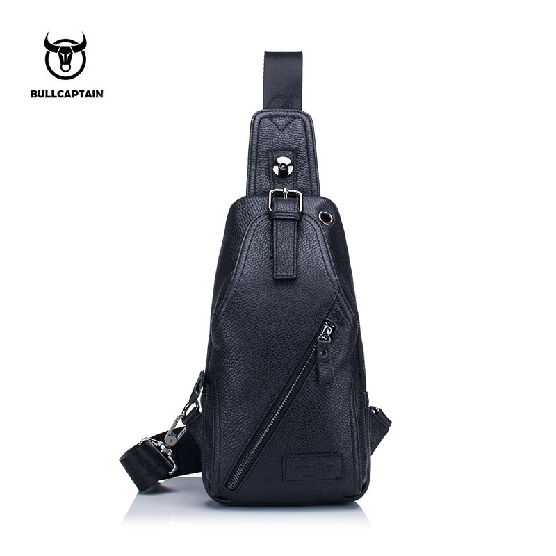 BULLCAPTAIN 2017 MEN Shoulder BAGS Small Brand casual messenger bags Fashion GENUINE Leather MALE Crossbody Bag men chest bag088 bull captain2017 fashion genuine leather crossbody bags men small brand music messenger bags male shoulder bag chest bag for men