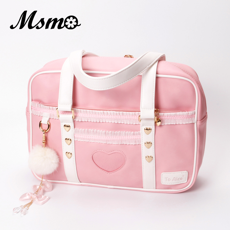 MSMO Japanese JK Uniform Preppy Style Shoulder Bag Cute Women Organza PU Leather Handbag to Alice Brand Lolita Girls Hand Bag