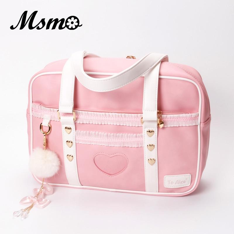 MSMO Japanese JK Uniform Preppy Style Shoulder Bag Cute Women Organza PU Leather Handbag to Alice Brand Lolita Girls Hand Bag стоимость