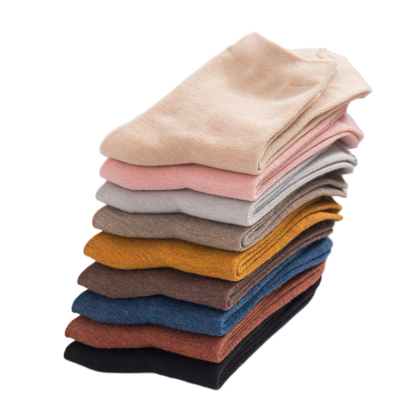 Spring Women's Harajuku Solid Color Thin Candy Color Colorful Bamboo Fiber Socks 5 pairs