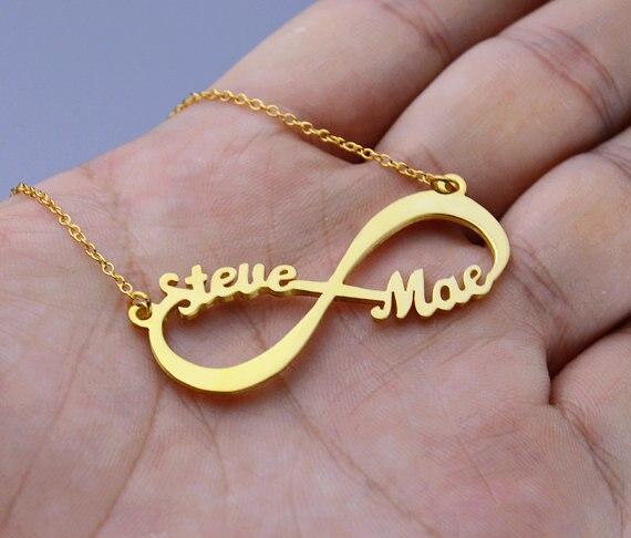 Angepasst Unendlich Name Halskette Personalisierte Silber Gold Rose Choker Halskette Frauen Männer Brautjungfer Geschenk Hochzeit Schmuck BFF