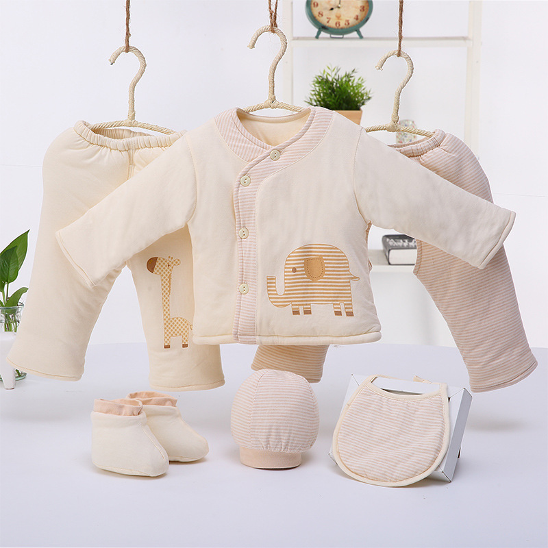 Thickening Warm Combed Cotton Baby Sets Autumn Clothes Unisex Newborn Clothes Baby Boy Girl Clothing Sets(6pcs Clothes set Suit) he hello enjoy baby girl clothes sets autumn winter long sleeved cartoon thick warm jacket skirt pants 2pcs suit baby clothing
