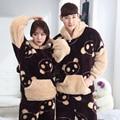 Inverno Casuais Amantes De Veludo Coral Pijama Set Casal Pijamas Homens Grosso Longo-Sleeved Bonito Panda Com Capuz Pijama Casa Quente roupas