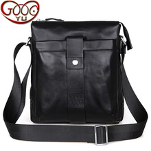 Leisure pure color first layer of leather shoulder Messenger bag cross section square high capacity shoulder