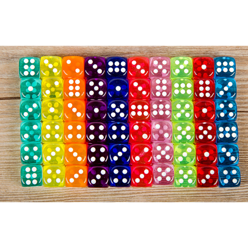 10PCS/Lot Dice Set 10 Colors  High Quality Transparent Acrylic 6 Sided Dice  For Club/Party/Family Games Free Shipping