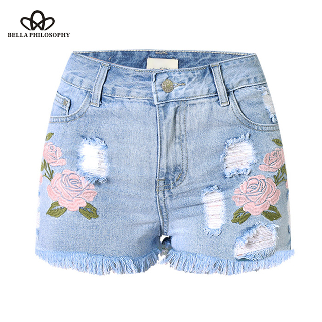 32f2781d2c9 US $16.99 49% OFF|Bella Philosophy 2018 ripped pocket flower embroidery  women shorts Summer casual denim shorts vintage hot light blue navy-in  Shorts ...