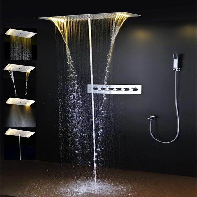 luxus dusche zubehr set deckenmultifunktions led streifen duschkopf mit niederschlag wasserfall sprhnebel - Dusche Led Leiste