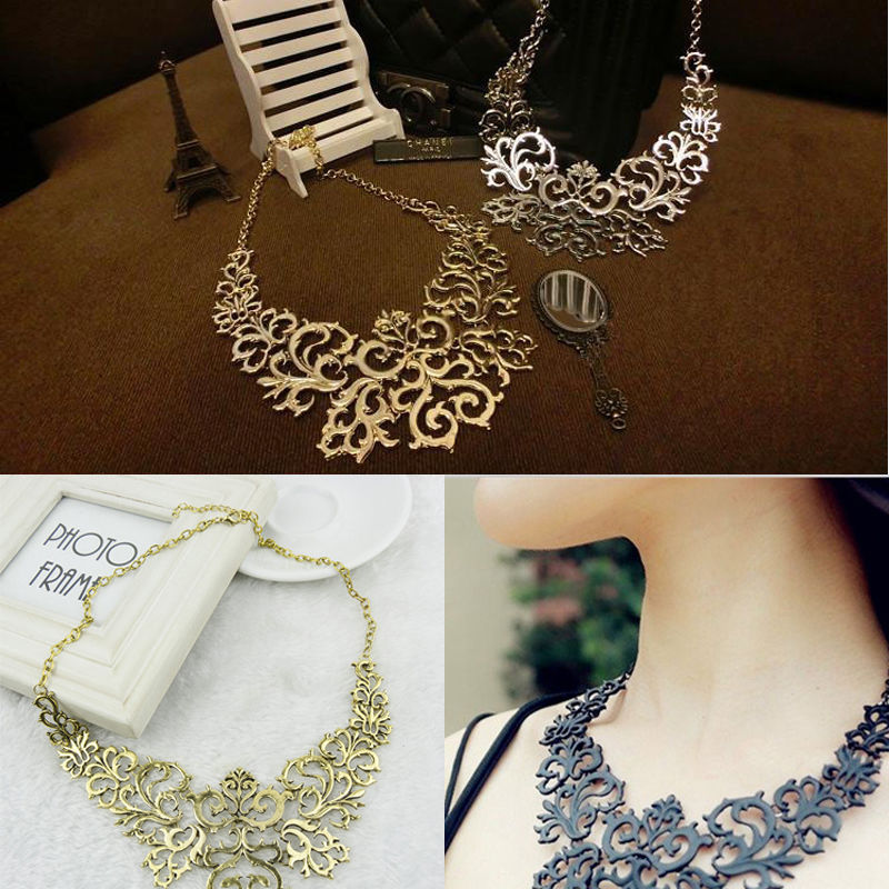 Hot Sale Western Style Vintage Multilayer Pendants Rhinestone Gold-color Hollow Flowers Necklace Jewelry Statement