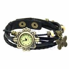 6 Colors Ladies Womens Vintage Leather Watch Bracelet Butterfly Decoration Quartz Fashion Retro Style