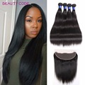 Brazilian Virgin Straight Hair with Lace Frontal Closure 8A Unprocessed 4pcs Brazilian Straight Human Hair Bundles with Frontal