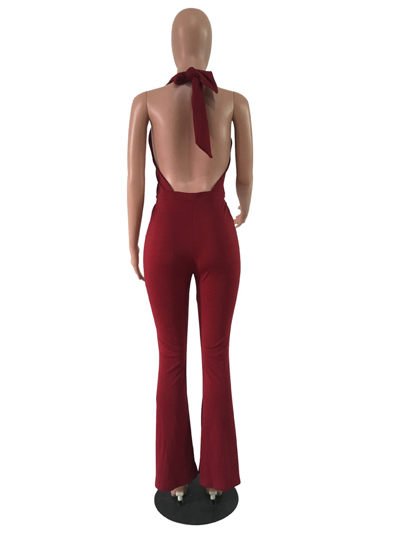 women sexy deep v backless lace-up halter flare pants jumpsuit-4
