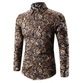 High Quality Male Shirt 2017 Spring Full Sleeve Printed Shirt Male Long-Sleeved Shirt Camisa Masculina Casual Slim Men Off White