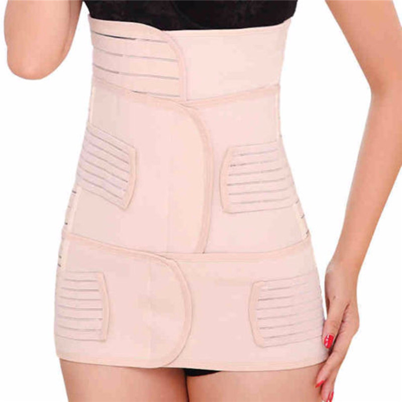3in1 Postpartum Women Recovery Breathable Belly Elastic Waist Pelvis Belt Shapewear Slimming Body Support-Band