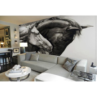 3D Custom Wallpaper For Walls Mural Home Decor Non Woven Waterproof White And Black Horse Wall