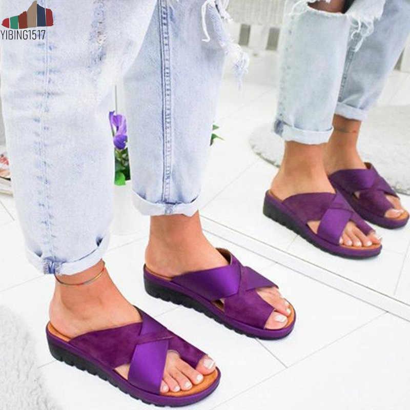 YIBING1517/Женская обувь из искусственной кожи; удобные женские повседневные мягкие босоножки на плоской платформе с коррекцией стопы и большим носком; ортопедический корректор