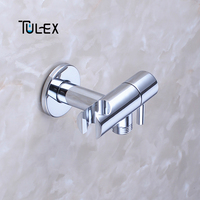 TULEX Faucet Angle Valve with Holder Water Stop Valve Switch for Shower Water Control Bathroom Accessories Brass Chrome Plated