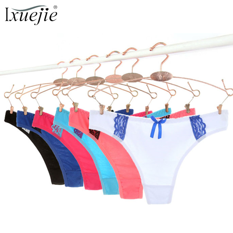 40458d1dbe8 Ixuejie 6pcs lot Sexy Lace Thongs Women Panties Cotton Fashio Kawaii Underwear  Lingerie Solid Ladies G String