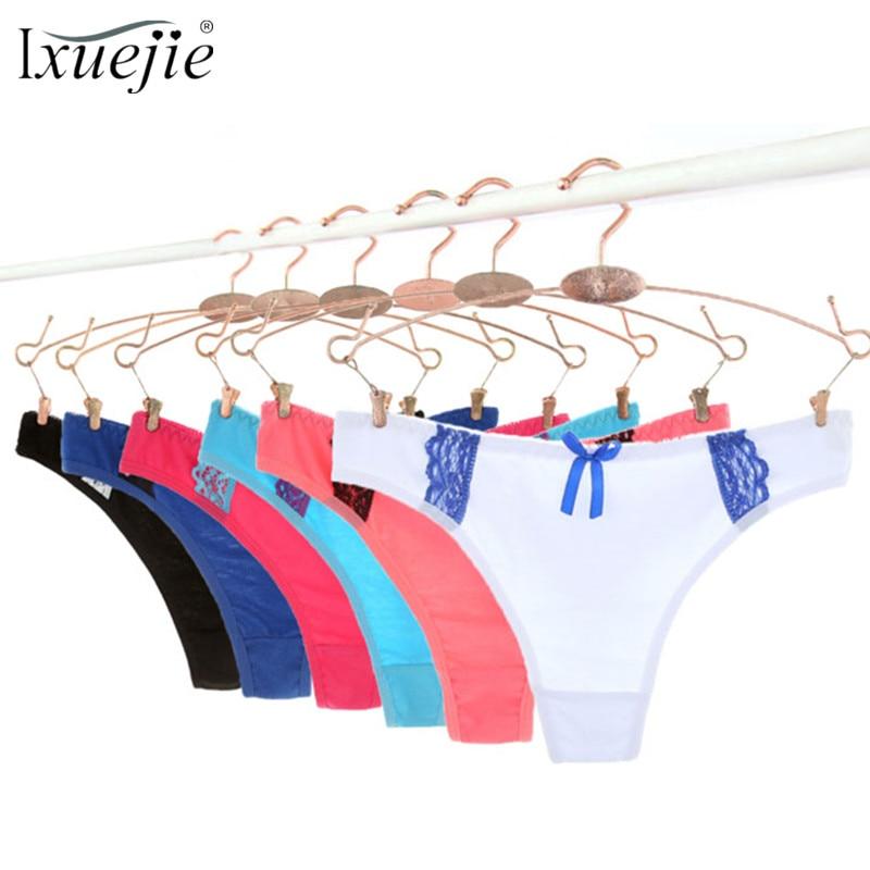 59391b953 Ixuejie 6pcs lot Sexy Lace Thongs Women Panties Cotton Fashio Kawaii  Underwear Lingerie Solid Ladies G String