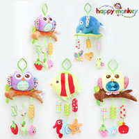 40cm Baby Plush Owl Lathe Hanging Bells Baby Toy For Bed With 3 Wind Chimes Owl