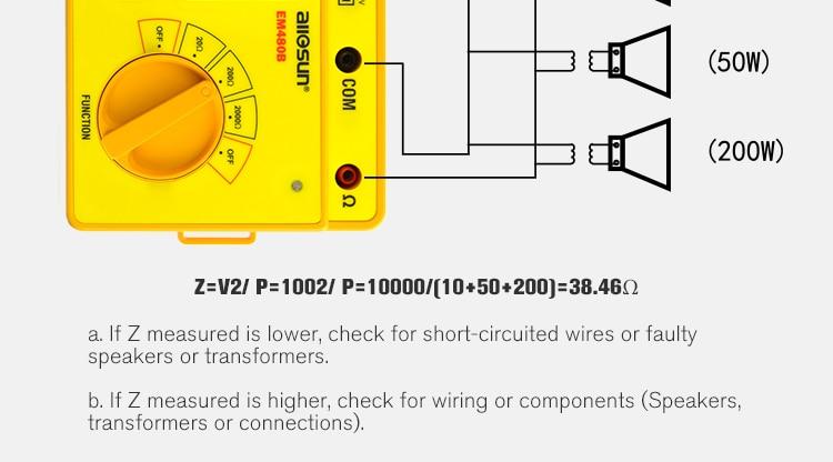 ALL SUN EM480B Audio Impedance Tester CATIII Test Ranges 20/200/2000 Resistance Meter 1KHz Timer Function Data Hold